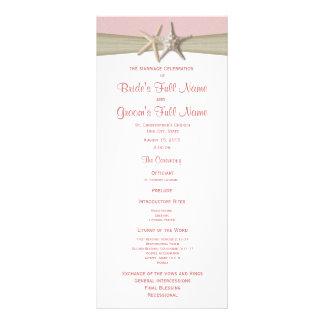 Starfish and Burlap Pink Beach Wedding Program Customized Rack Card