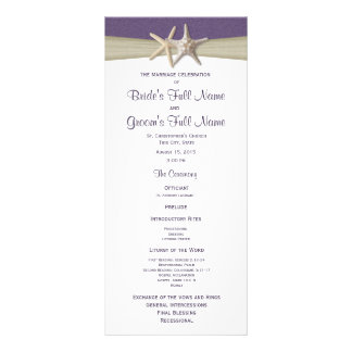 Starfish and Burlap Purple Beach Wedding Program Custom Rack Card
