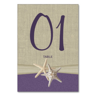 Starfish and Burlap Purple Table Number Card