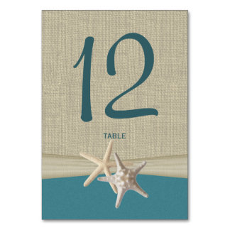 Starfish and Burlap Table Number Card
