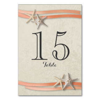 Starfish and Coral Ribbon Table Number Card
