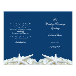Starfish and Flowers Navy Wedding Program Template 21.5 Cm X 28 Cm Flyer