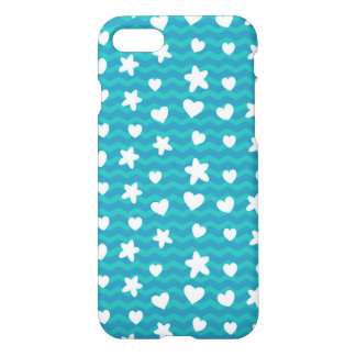 Starfish and Hearts Blue Chevron iPhone 7 Case