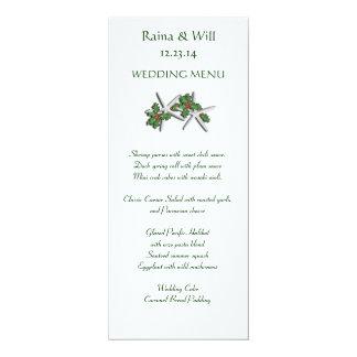 Starfish and Holly Tall, Christmas Wedding Menu Card