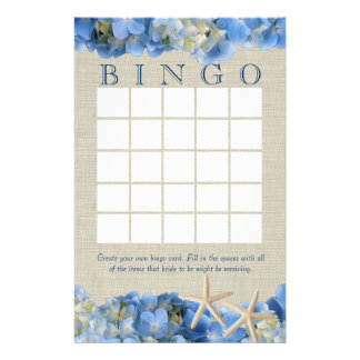 Starfish and Hydrangeas Bridal Shower Bingo Custom Stationery