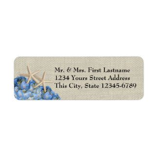 Starfish and Hydrangeas Return Address Label