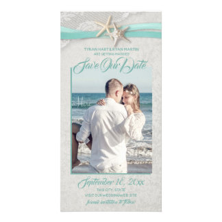 Starfish and Lace Aqua Gray Save the Date Card