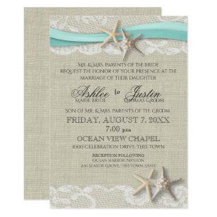 Starfish And Lace Rustic Beach Aqua Wedding Invitation