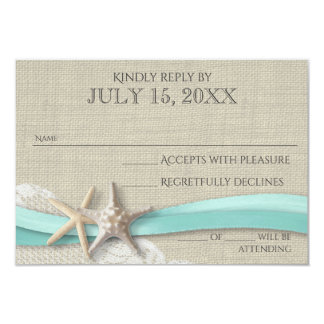 Starfish and Lace Rustic Response Card 9 Cm X 13 Cm Invitation Card