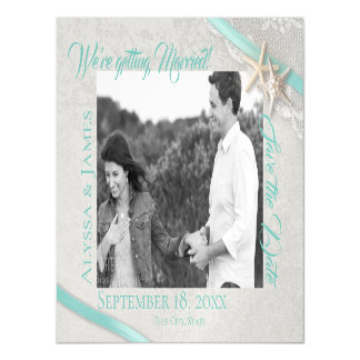 Starfish and Lace Save the Date Photo Magnetic Card