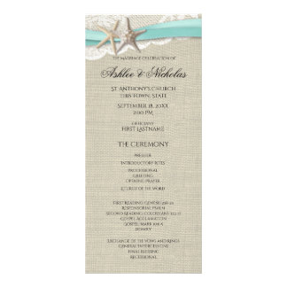 Starfish and Lace Wedding Program Rack Card