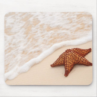 Starfish and ocean wave mouse pad
