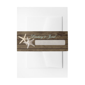 Starfish and Ocean Wood Invitation Belly Band