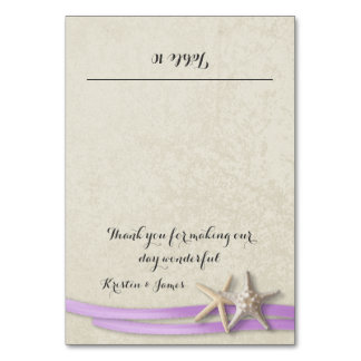 Starfish and Purple Ribbon Place Card