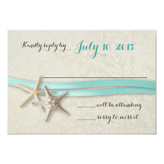 Starfish and Ribbon Beach Response 9 Cm X 13 Cm Invitation Card