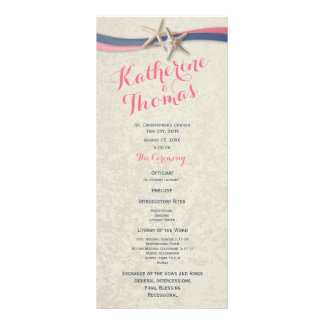 Starfish and Ribbon Beach Wedding Program Rack Card