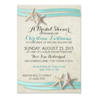 Starfish and Ribbon Bridal Shower Card