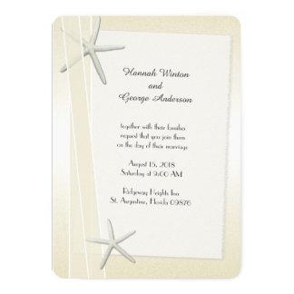 Starfish and Ribbons Champagne Wedding 13 Cm X 18 Cm Invitation Card