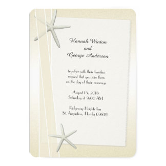 Starfish and Ribbons Champagne Wedding Card