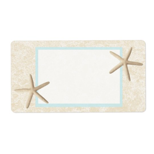 Starfish and Sand Design Shipping Label