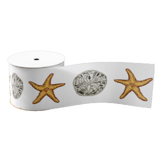 Starfish and Sand Dollar Grosgrain Ribbon