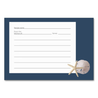 Starfish and Sand Dollar Recipe Cards