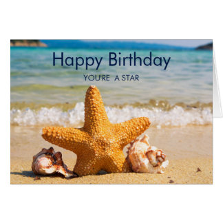 Starfish and Seashells on the Beach Birthday Card