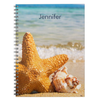 Starfish and Seashells on the Beach Personalized Spiral Notebook