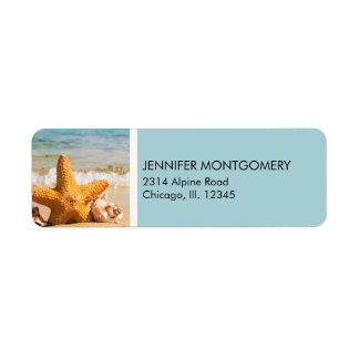 Starfish and Seashells on the Beach Return Address Label