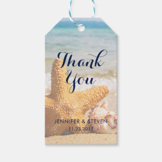 Starfish and Seashells on the Beach Thank You Gift Tags