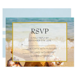 Starfish and Seashells on the Beach Weddiong RSVP Card