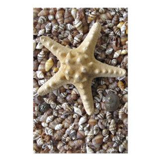 Starfish and seashells stationery design