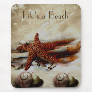 Starfish and shells   beach scene mouse pad