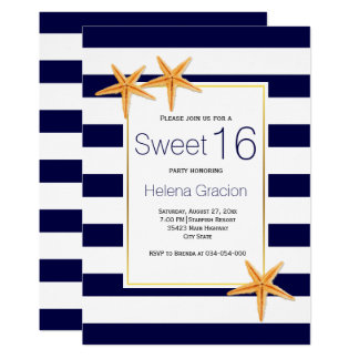 Starfish and stripes beach Sweet Sixteen birthday Card