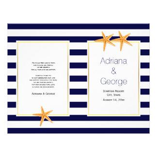 Starfish and stripes folded beach wedding program 21.5 cm x 28 cm flyer