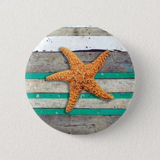 Starfish and Weathered Planks Beach 6 Cm Round Badge