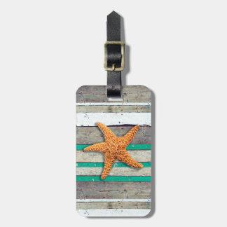 Starfish and Weathered Planks Beach Luggage Tag