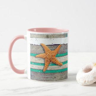 Starfish and Weathered Planks Beach Mug