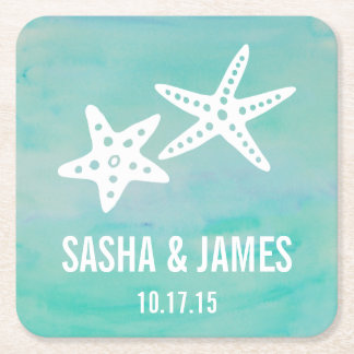 Starfish Aqua Beach Wedding Coasters