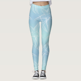 Starfish Aqua Blue Beach Leggings