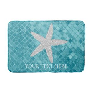 Starfish Aqua Sea Glass Personalize Bath Mat