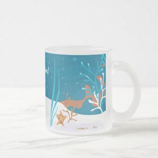 Starfish Aquatic Aqua Frosted Glass Mug