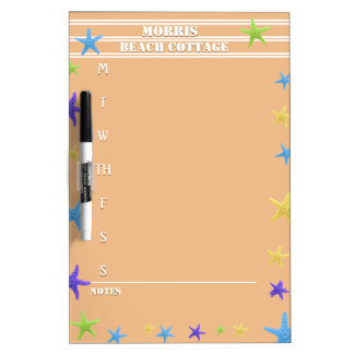 Starfish Beach Coral Activity Schedule with Notes Dry-Erase Board