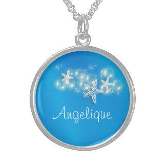 Starfish beach girls name round pendant necklace