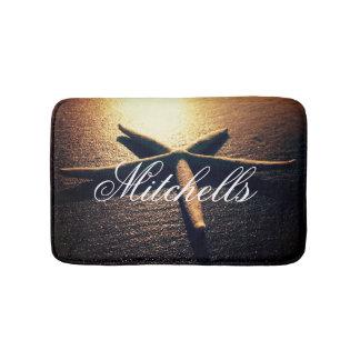 Starfish beach photo bath mat with custom name