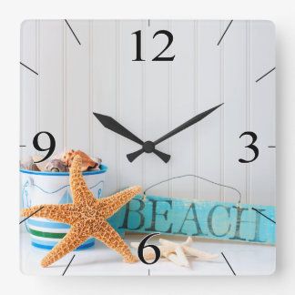 Starfish Beach Tropical Summer Square Wall Clock