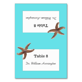 Starfish Beach Wedding Aqua Table Cards