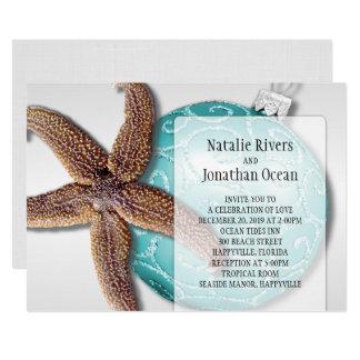 Starfish Beach Wedding Christmas Time Card