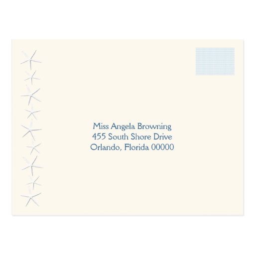 Starfish Beach Wedding Return Address Postcard
