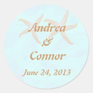 starfish beach wedding sticjker classic round sticker